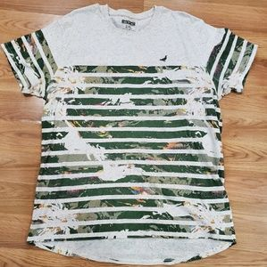 Staple T-Shirt 2XL Beige w/Green Graphic Stripes
